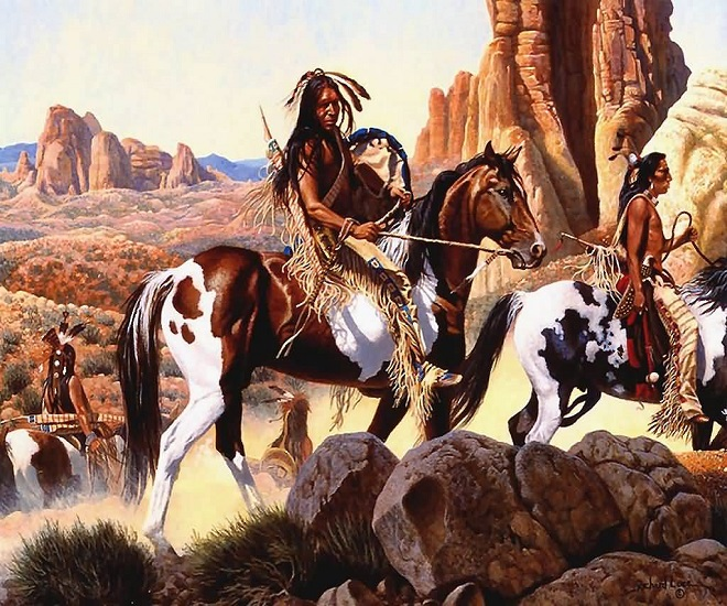 Индейцы на пегих лошадях