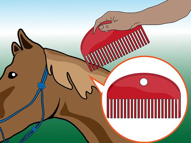 Во время расчесывания надо не повреждать кожу лошади