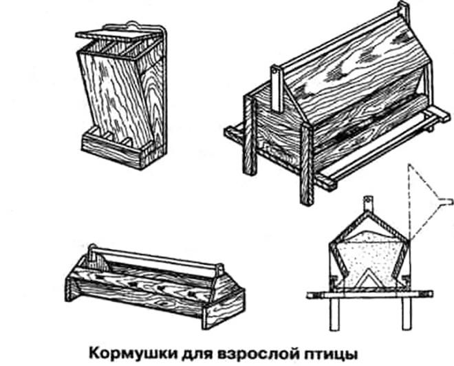 Схемы-чертежи для постройки кормушки могут отличаться.