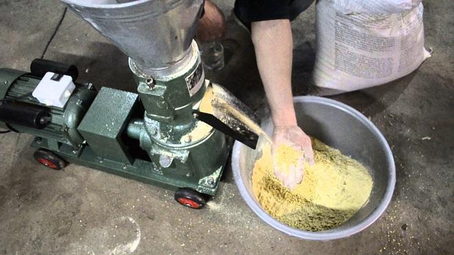 Комбикорм делают на грануляторе