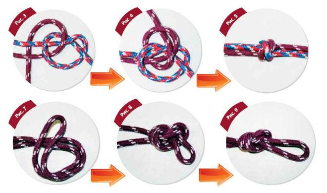 Схема плетения двойного узла